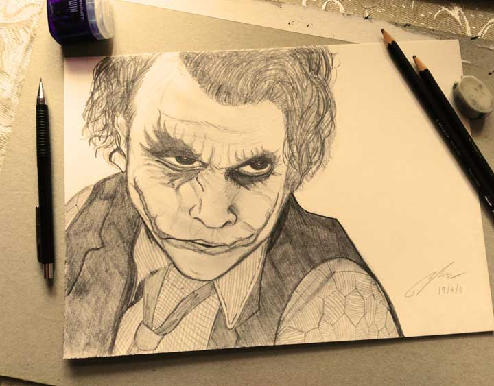Heath Ledger Joker Pencil Sketch by Shah Ibrahim