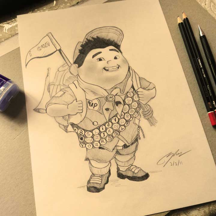 Russell UP Pencil Sketch by Shah Ibrahim