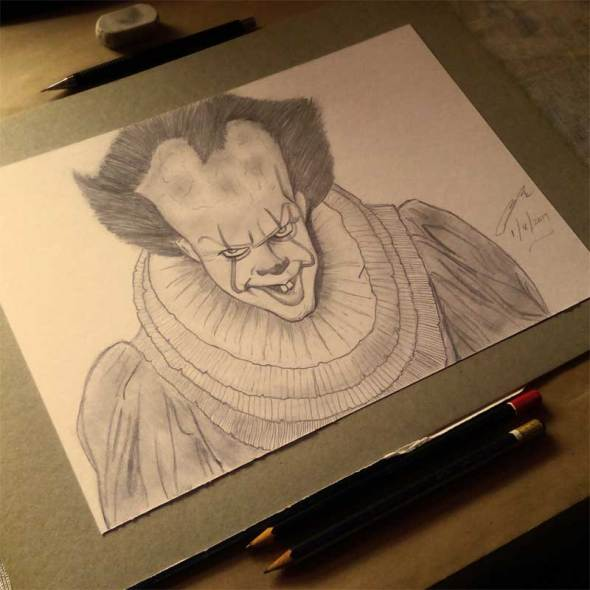 Bill Skarsgard as Pennywise The Clown Pencil Sketch By Shah Ibrahim