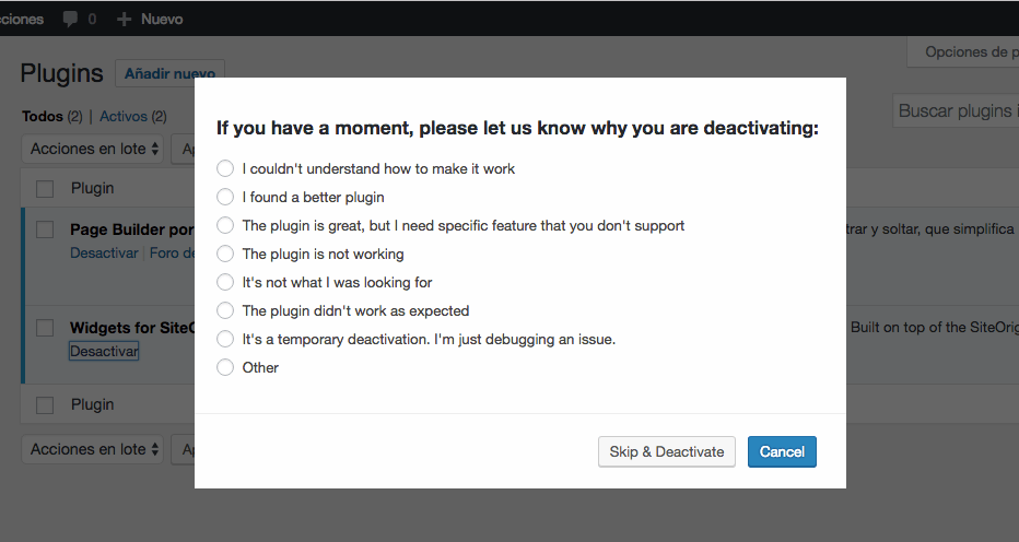 WordPress Plugins uninstall feedback