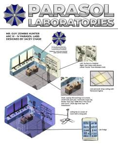 """Parasol laboratories from """"Mr. Guy: Zombie Hunter"""" design illustration by Jacey Chase"""