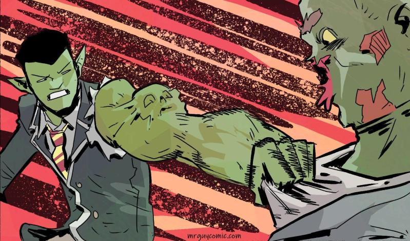 A panel from Mr. Guy Zombie Hunter Act 1 arc 2 a damned drink by walter ostlie