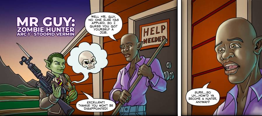 """Mr Guy: Zombie Hunter"" Page 1 panels 1 & 2"