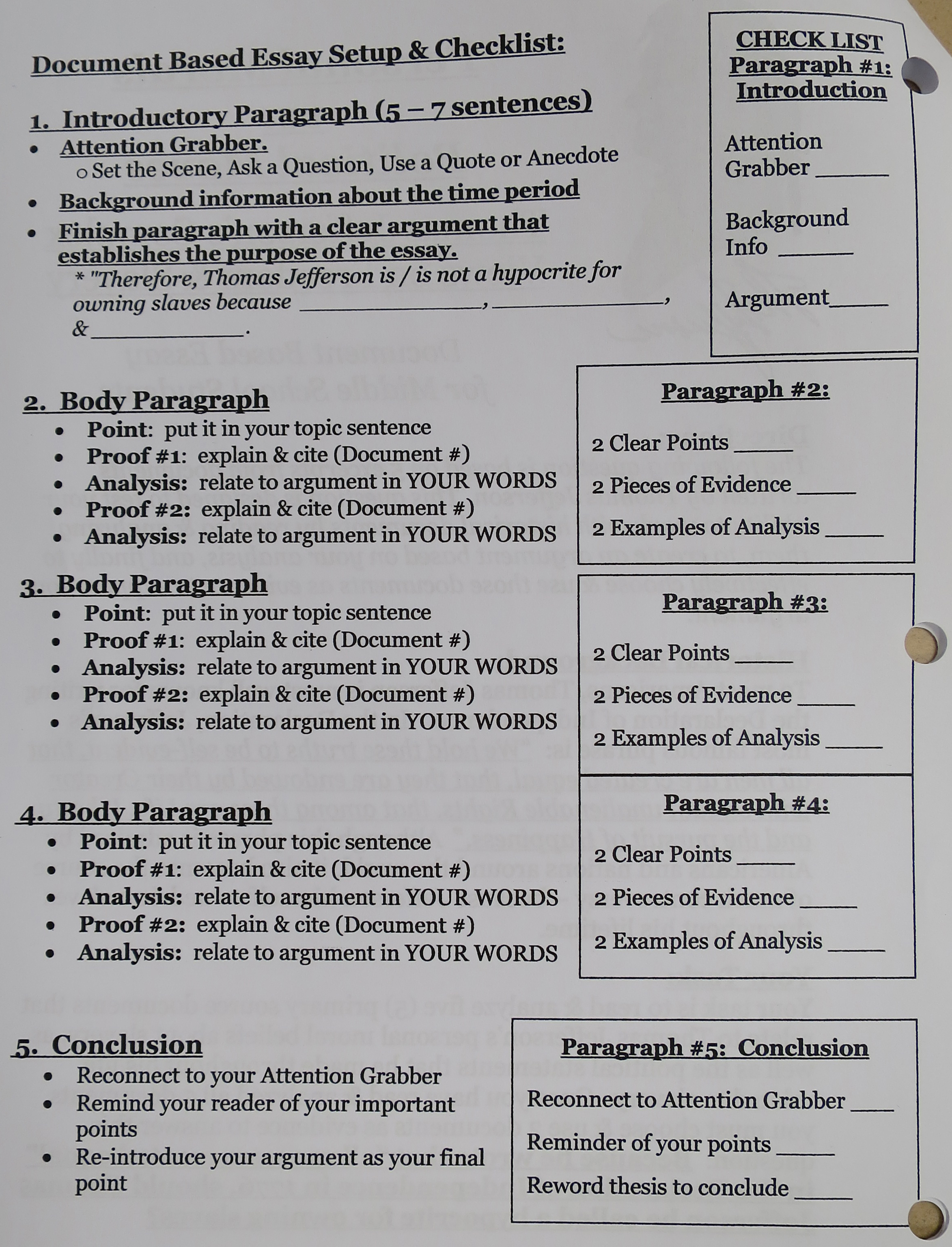 Document based question essay format