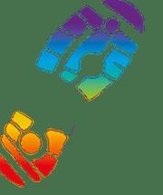 Park Run Rainbow footprint left