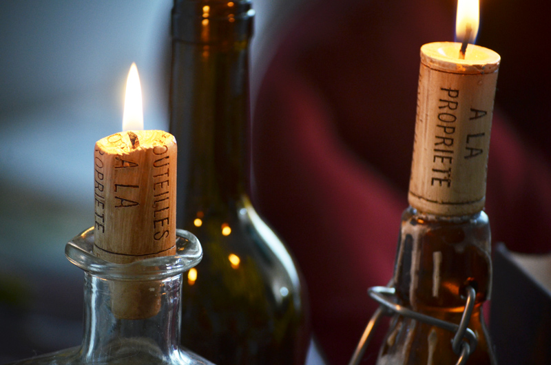 Home Decor Accent: Wine Cork Candles