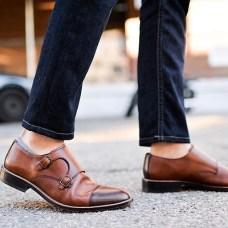 Structure Mens Monk Strap Black Leather Shoes