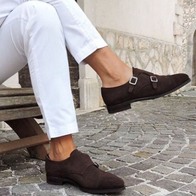 No Socks - Double Monk Strap Shoe + Chinos