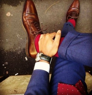 Navy Blue Suit Shoe and Watch