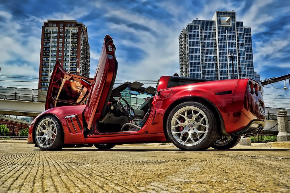 Custom Red Corvette Lambo Doors