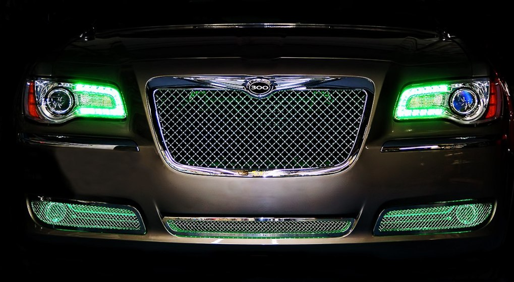 Green Chrysler 300 Oracle Halo Headlights