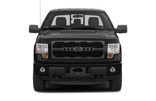 Sniper Truck Grille Primary Grille for 2008-2010 Ford SuperDuty F250/350 fits All Except Base Model Xl Work Trucks With Utility Grille And Custom Chrome Package/Harley Davidson Style Grilles models (Matte Black finish)