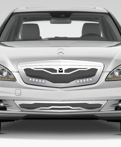 Macaro Hood Cowl Grille for 2007-2009 Mercedes Benz S550 fits All Except Amg Sport models (Polished finish)
