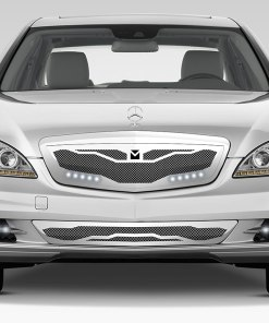Macaro Hood Cowl Grille for 2007-2009 Mercedes Benz S550 fits All Except Amg Sport models (Triple Chrome finish)