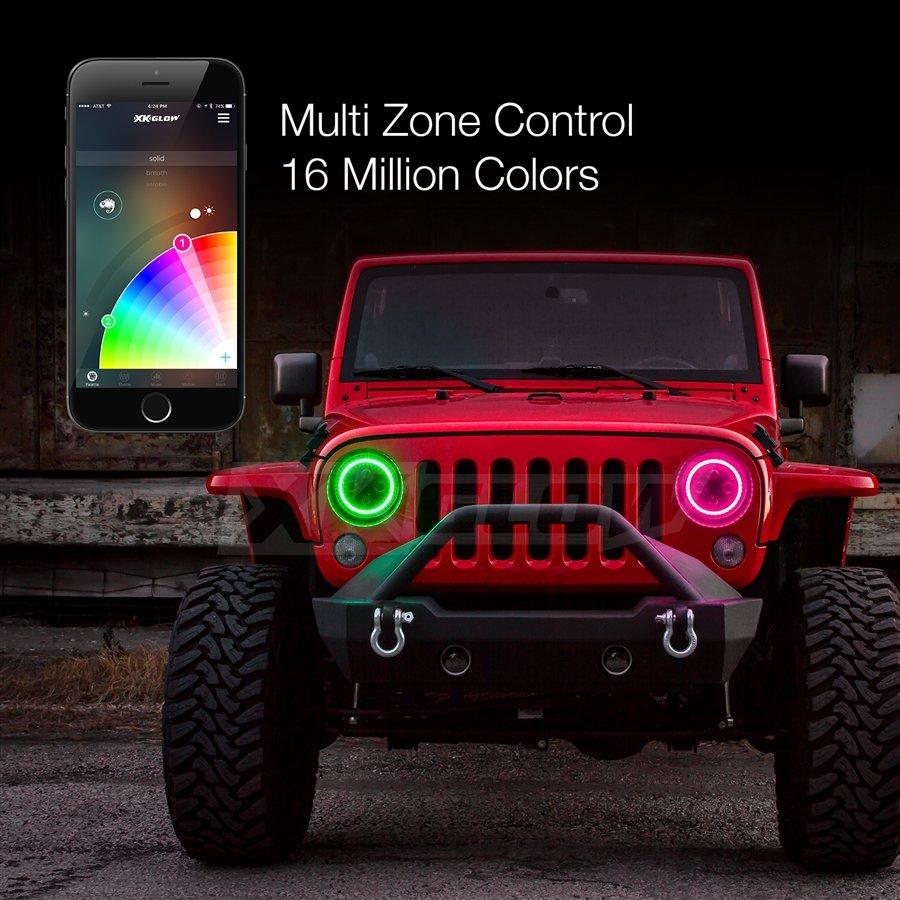 2pc 7 Jeep RGB Halo LED Headlight Kit with XKchrome