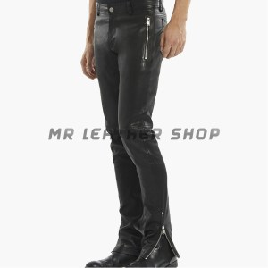 Mens Black Leather Jeans