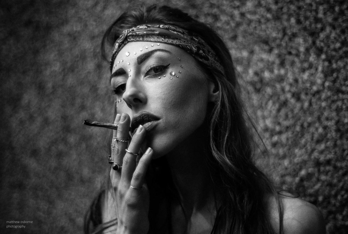 leica m8 review girl smoking hippy boho style B&W makeup jewels