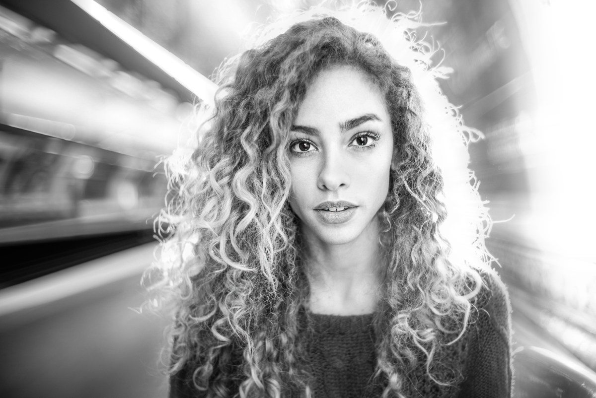 girl in paris underground station photoshoot beauty model
