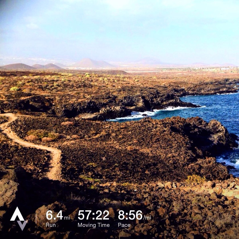 strava running data and photo tenerife picture of coastal path