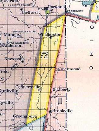 Map showing the 12 Mile Purchase