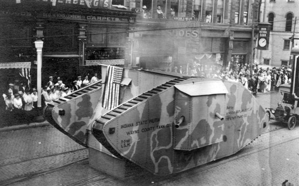 """""""Tank"""" built by Starr Piano Co. in parade"""
