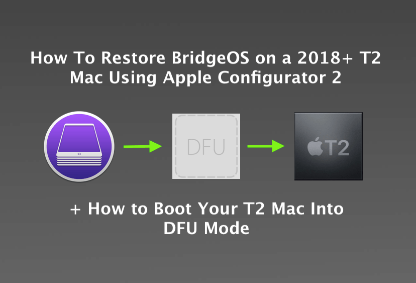 MrMacintosh.com - How to Restore BridgeOS on a 2018+ T2 Mac using Apple Configurator 2. How to Boot your Mac into DFU Mode