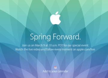 蘋果發出Spring Forward邀請函!Apple Watch即將在3月9日正式發表