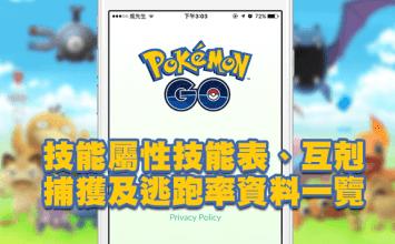 Pokemon Go攻略: 技能屬性表、互剋、捕獲及逃跑率資料一覽