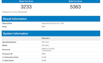 Apple iPhone7 Plus真實Geekbench官方跑分數據曝光!確認記憶體有3GB