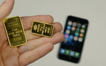 將50克純金溶解後,倒在iPhone 7上會發生什麼事?