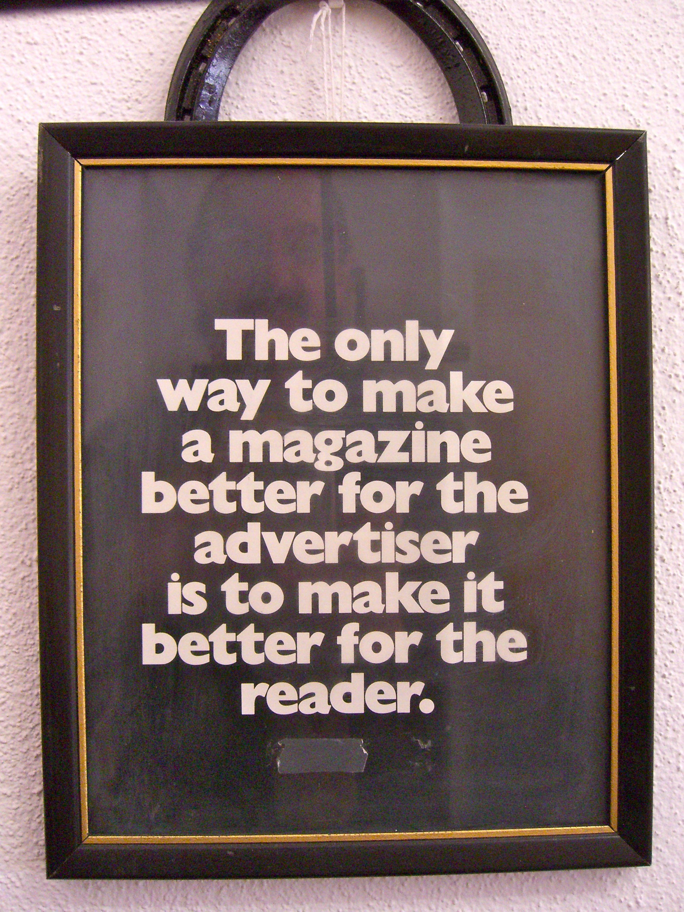 sign on the wall at Western Horseman magazine