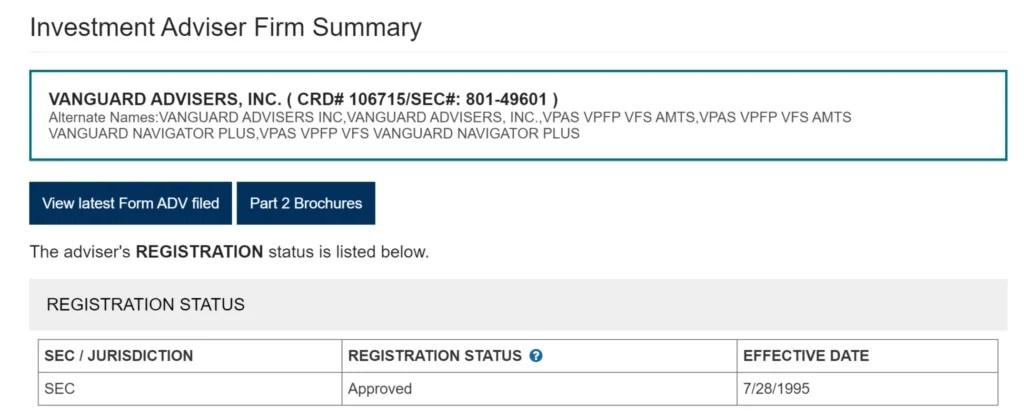 SEC Vanguard Registration Documents