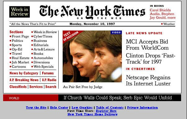 New York Times, 1997 front page, Mr. Media Interviews
