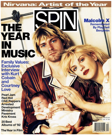 Spin Magazine cover, December 1992, Kurt Cobain, Nirvana, Bob Guccione Jr., Mr. Media Interviews