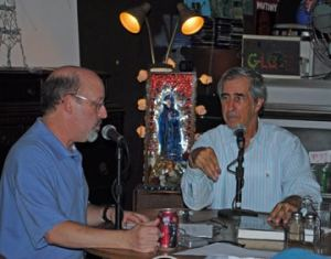 Bob Andelman (L), Peter Golenbock, Globe Coffee Lounge, St. Petersburg, Florida