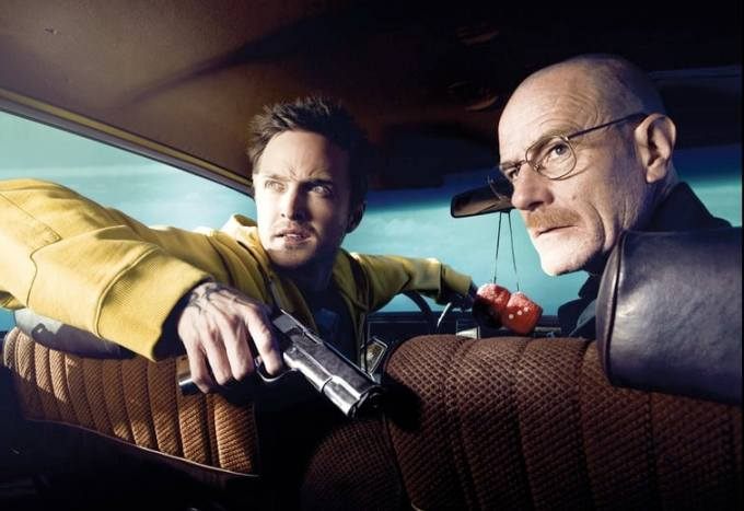 Aaron Paul, left, with Bryan Cranston, star in AMC's Breaking Bad