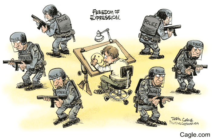 Daryl Cagle cartoon, Charlie Hebdo, Mr. Media Interviews