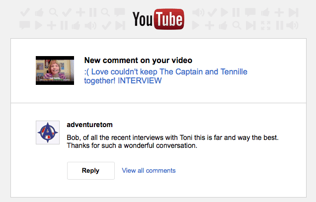 YouTube comment May 2016, Toni Tennille, Mr. Media Interview