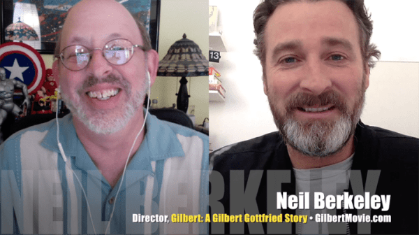 Neil Berkeley (R), director of <I>Gilbert: A Gilbert Gottfried Story<I>, with Mr. Media, Bob Andelman (L), Mr. Media Interviews