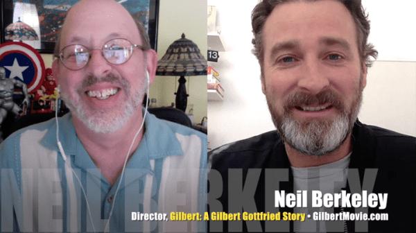 Neil Berkeley (R), director of <I>Gilbert: A Gilbert Gottfried Story<I>, with Mr. Media, Bob Andelman (L), Mr. Media Interviews