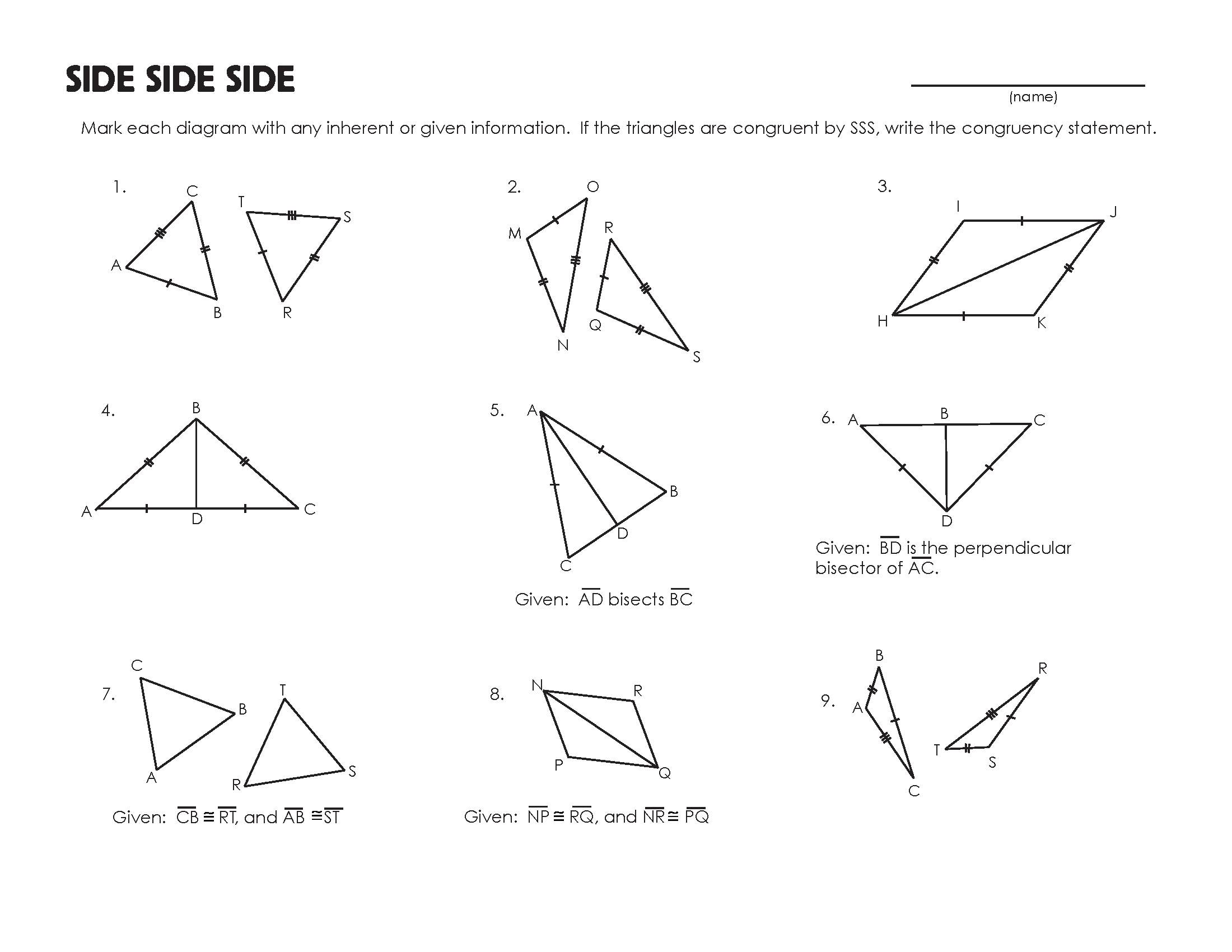 Proving Triangles Congruent Worksheet Answer Key
