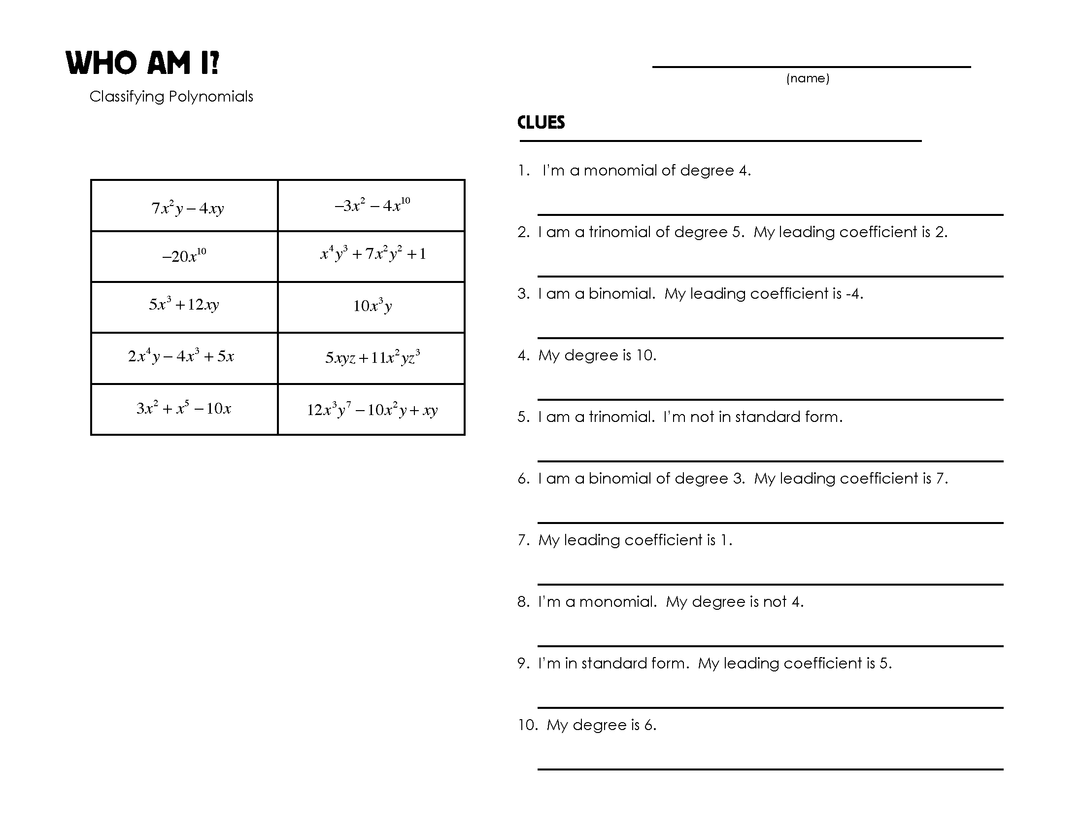 Printables Classifying Polynomials Worksheet