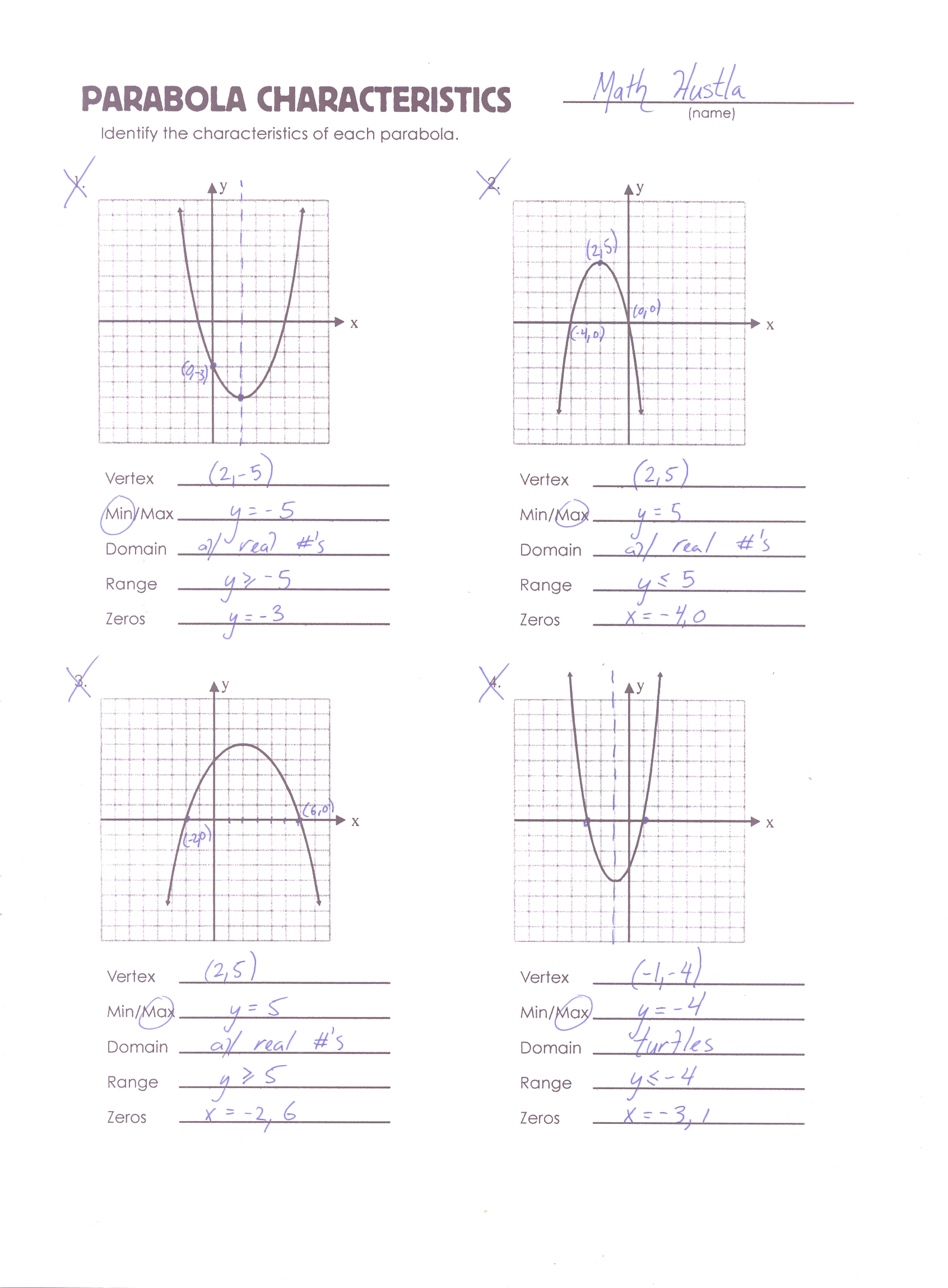 Quadratic Function Worksheet Answers