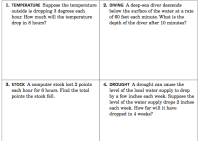 Integer Word Problems : More Challenging Practice ...