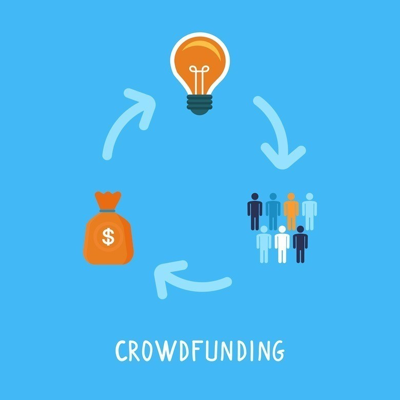Vector crowdfunding concept in flat style - new business model - funding project by raising monetary contributions from crowd of people