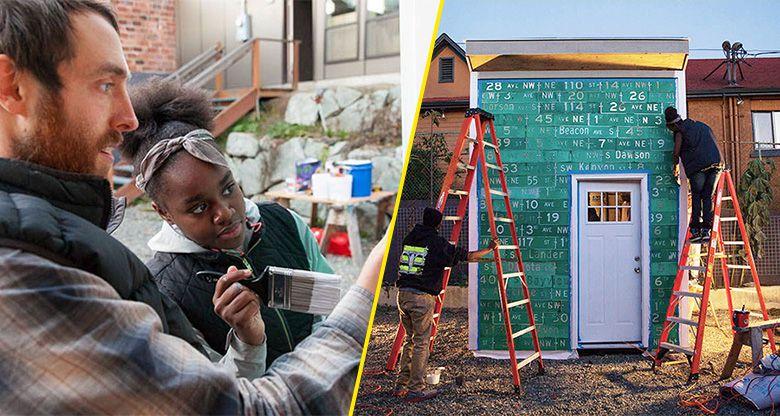 des adolescents construisent des refuges pour les sans abris de seattle. Black Bedroom Furniture Sets. Home Design Ideas