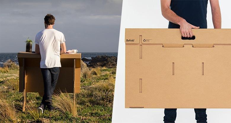Carton plein pour refold un bureau debout mobile et recyclable
