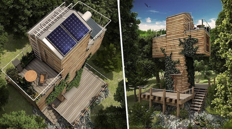 La micro maison autonome base de containers recycl s Maison autonome energetiquement