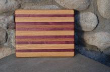 """# 14-07. Red Oak, Purpleheart and Black Walnut. 8"""" x 10"""" x 3/4""""."""