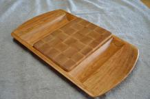 "Cheese & Cracker server # 14-01. Cherry base with a Hard Maple, end grain cutting board insert. 14"" x 18"" x 1-1/2""."